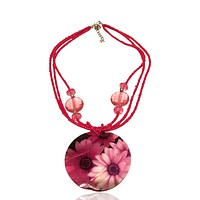 Abalone Statement Beaded Statement Graphic Necklace Pink Flower