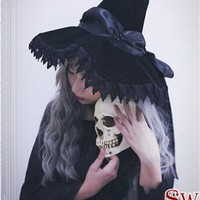 Cutie Creator ~ Witch's House~ Velvet Bow Lolita Witch Hats $36.99 - My Lolita Dress