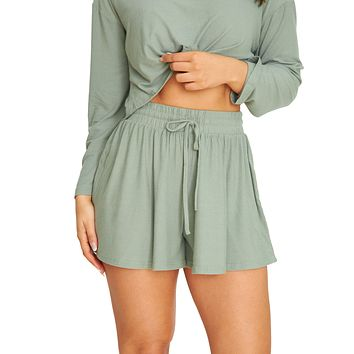 Let's Chill Olive Shorts