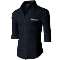 Doublju Men's Button Down Shirts With 3/4 Sleeves Pointed Collar (KMTSTL0210)