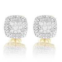 10k Gold Square Icy Cluster Micro Pave Real Diamonds Earrings