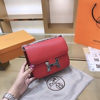 Hermes Women Leather Shoulder Bags Satchel Tote Bag Handbag Shopping Leather Tote Crossbody