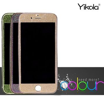 Glitter Phone Protective Sticker For Apple iPhone 7 8 X 6 Plus mobile phone sticker cover 360 Degree Full Body Decal Skin Wrap