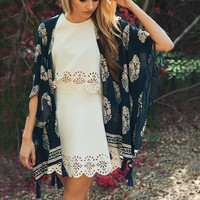 Moon Palace Fringe Duster in Navy