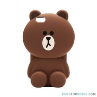 Cute Brown Bear Silicone Case - iPhone 6