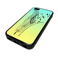 Apple iPhone 5C 5 C Case Cover Skin Broken Wings Quote DESIGN BLACK RUBBER SILICONE Teen Gift Vintage Hipster Fashion Design Art Print Cell Phone Accessories