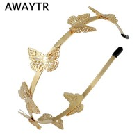 Butterfly Hair Accessories 2017 New Women Gold Plated Butterfly Headband Hairband  Fashion Metal Gold Hair Jewelry