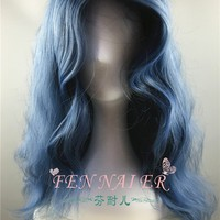 Cool Film Into the Woods Cosplay Wig The Witch Wavy Curly Gray Blue Long Synthetic Hair AdultAT_93_12