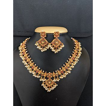 Guttapusalu Set / Traditional matte gold finish Choker Necklace and Earrings set
