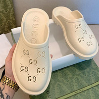 GUCCI GG pop-up raised hollow slippers shoes / Heel height 2.5cm