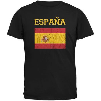 World Cup Distressed Flag Espana Black Adult T-Shirt