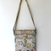 Vintage Modapelle hand painted leather wearable art cross body bag