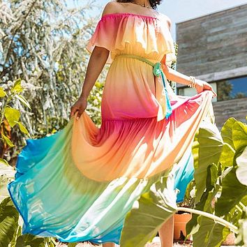 2020 new women's tie-dye printed one-shoulder lace-up dress