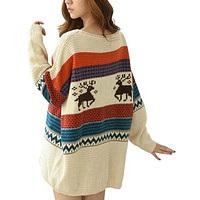 Girls Elk Deer Print Christmas Sweater Casual Loose Long Sleeve Knitted Pullover Jumper Autumn Winter Tops