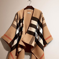 Check-Lined Wool Poncho