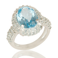 925 Sterling Silver Natural Sky Blue Topaz Gemstone Solitaire Halo Ring