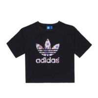 """Adidas"" Women Casual lotus Clover Letter Print Short Sleeve Crop Tops T-shirt"