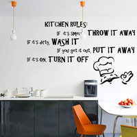 Vinyl Wall Decal Quotes Kitchen Rules / Inspirational Text Art Decor Home Sticker / Funny Dining Room Decals + Free Random Decal Gift!
