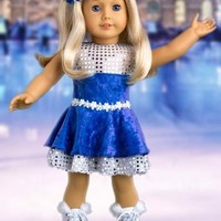 Ice Dancer - Ice Skating Outfit Includes Blue Leotard with Double Blue and Silver Ruffle Skirt, Decorative Head Flower and White Skates - 18 Inch Doll Clothes