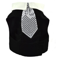 Black Dog Harness Jacket with Collar and Tie