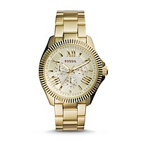 Cecile Multifunction Etched Watch, Gold | FOSSIL
