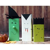Wood Witch, Vampire, Frankenstein, Rustic Fall decor
