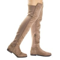 Willy2 Taupe By Liliana, Faux Fur Lined Over Knee Flat Boots w Elastic Back Panel