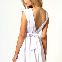 Louise Tie Low V-Back Netted Prom Dress