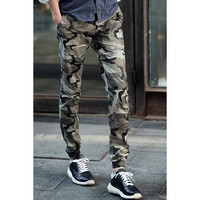 Military Style Narrow Feet Patch Pocket Color Block Slimming Lace-Up Men's Camo Jogger Pants