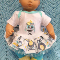 """AMERICAN GIRL Bitty Baby Clothes """"Who, Who?"""" (15 inch) doll outfit  dress, leggings, booties/ socks, and headband hair clip owls"""