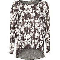 River Island Womens Black print hanky hem top