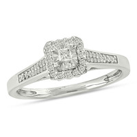 1/6 CT. T.W. Princess-Cut Diamond Frame Promise Ring in Sterling Silver|Zales