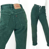 Vintage 90s Green Levi's 501 Button Fly Women's Jeans - Size 2 3 - High Waisted Colored Denim Boyfriend Jeans