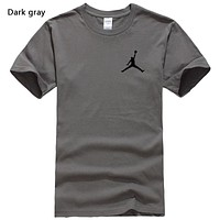 NIKE Jordan New fashion people print couple top t-shirt Dark Gray
