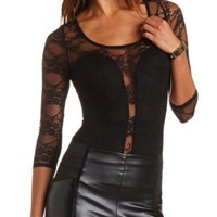 Plunging Sweetheart Lace Bodysuit by Charlotte Russe - Black