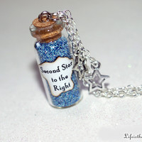 Second Star to the Right Magical Necklace with 2 Star Charms, Neverland, Peter Pan