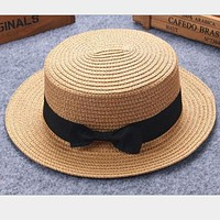 child Girl boy adult male female summer hat British retro bow princess curling straw hat dome flat roof beach sunscreen 2mz53