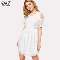 Dotfashion Laser Cut Insert Boxed Pleated Dress Summer White V Neck Party Dress Women Cold Shoulder A Line Fit & Flare Dress