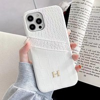 Hermes new crocodile pattern iPhone12Pro mobile phone shell leather 8plus dual card 11Pro half pack
