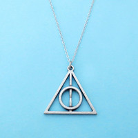 Deathly hallows, Necklace, Triangle, Necklace, Movie inspired, Long, Silver, Necklace, Chain, Necklace, Isosceles, Cute, Symbol, Gift