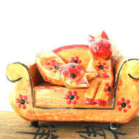 cats on a couch- cute kittens- room decoration- living room- handmade animals- black / tabac /orange painted