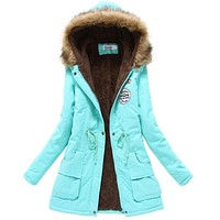 2017 winter jacket women wadded jacket female outerwear slim winter hooded coat long cotton padded fur collar parkas plus size