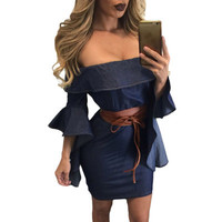Fashion Women Sexy Jeans Boat Neck Off Shoulder Erotic One Piece Dress _ 11921