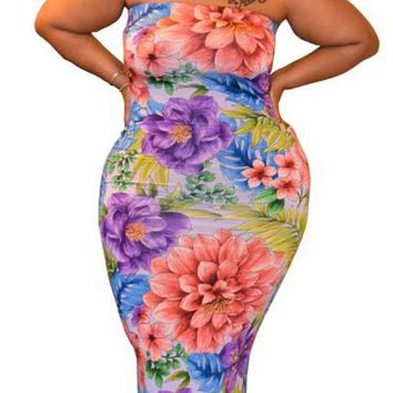 Summer new slim sexy dress with wrapped chest and flower print