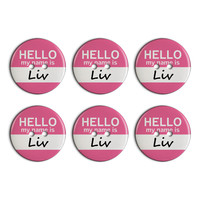 Liv Hello My Name Is Plastic Resin Button Set of 6