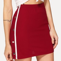 Buttoned & Striped Side Skirt