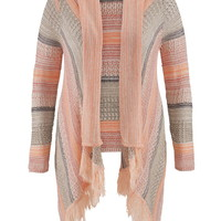 Plus Size - Open Stitch Striped Blanket Cardigan With Fringe - Coral