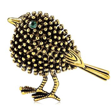 Golden Bronze Bird Brooch Pin