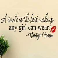 """Marilyn Monroe Removable Wall Decal Quote, """"A Smile Is The Best Makeup Any Girl Can Wear"""""""