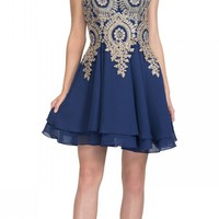 Starbox USA S6310 Navy Applique Bodice A-Line Short Homecoming Dress